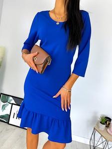 Niebieska sukienka ModnaKiecka.pl w stylu casual mini z okrągłym dekoltem