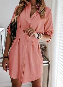 Sukienka Sandbella z długim rękawem szmizjerka mini