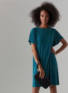 Turkusowa sukienka Mohito w stylu casual oversize z krótkim rękawem