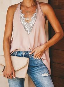 Różowa bluzka Sandbella z dekoltem w kształcie litery v