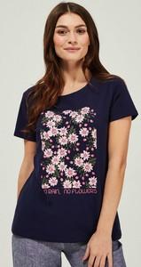 Granatowy t-shirt Moodo z krótkim rękawem z bawełny