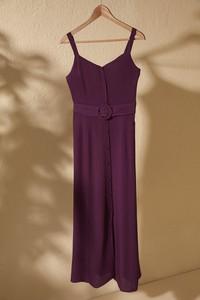 Fioletowa sukienka Trendyol z dekoltem w kształcie litery v maxi