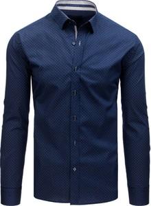 Niebieska koszula Dstreet z klasycznym kołnierzykiem z długim rękawem z bawełny
