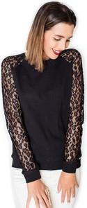 Czarna bluzka Katrus z długim rękawem w stylu boho z bawełny