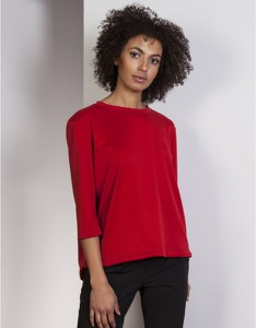 Czerwona bluzka Lanti z okrągłym dekoltem w stylu casual
