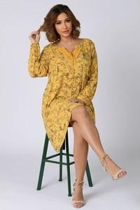 Sukienka Plus Size Company z długim rękawem z dekoltem w kształcie litery v midi