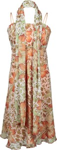 Sukienka Fokus z szyfonu z dekoltem halter rozkloszowana
