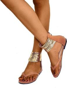 Brązowe sandały Sandbella z płaską podeszwą