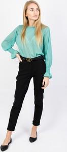 Zielona bluzka Olika z długim rękawem z okrągłym dekoltem