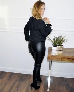 Czarne spodnie Lamaja Butik z bawełny w rockowym stylu