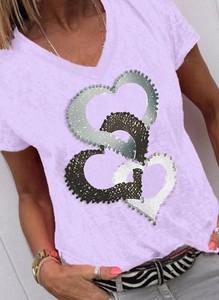 Fioletowa koszula Sandbella z okrągłym dekoltem w młodzieżowym stylu