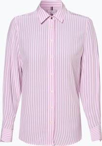 Różowa bluzka Tommy Hilfiger z kołnierzykiem z długim rękawem