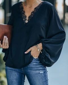 Bluzka Kendallme z dekoltem w kształcie litery v w stylu casual z długim rękawem