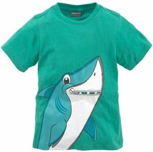 Błękitna koszulka dziecięca kidsworld z krótkim rękawem z napisami