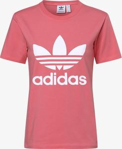 Różowa bluzka Adidas Originals w sportowym stylu z krótkim rękawem
