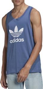 Niebieski t-shirt Adidas w sportowym stylu z dzianiny z krótkim rękawem