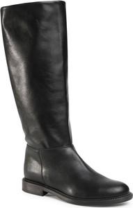 Czarne kozaki Trussardi Jeans w stylu casual z płaską podeszwą