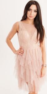 Różowa sukienka Butik Ecru bez rękawów mini rozkloszowana