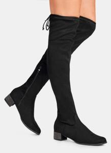 Czarne kozaki DeeZee za kolano na obcasie