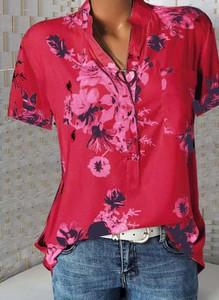 Czerwona bluzka Cikelly z dekoltem w kształcie litery v z długim rękawem