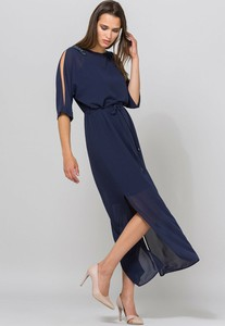 62d290a43fa7ce Granatowa sukienka Monnari z długim rękawem