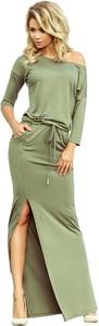 Zielona sukienka NUMOCO w stylu casual z długim rękawem maxi