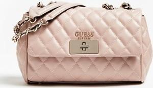 Różowa torebka Guess mała na ramię z bawełny