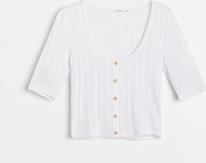 Bluzka Reserved z dekoltem w kształcie litery v z krótkim rękawem w stylu casual