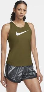 Zielony top Nike w sportowym stylu z okrągłym dekoltem