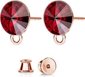 GIORRE SREBRNE KOLCZYKI DO CHARMSÓW SWAROVSKI RIVOLI 925 : Kolor kryształu SWAROVSKI - Siam, Kolor pokrycia srebra - Pokrycie Różowym 18K Złotem