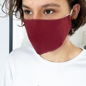 Ekskluzywna maseczka maska bawełniana 3-warstwowa - wielorazowa - QART bordowa