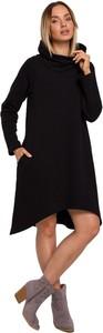 Czarna sukienka MOE w stylu casual z dzianiny z długim rękawem