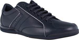 Niebieskie buty sportowe Boss Athleisure w sportowym stylu ze skóry sznurowane