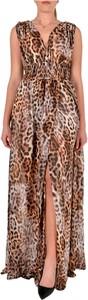 Brązowa sukienka Guess maxi z dekoltem w kształcie litery v