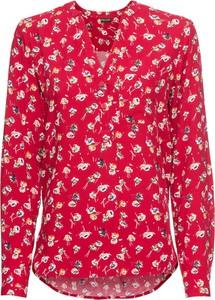 Czerwona bluzka bonprix BODYFLIRT z nadrukiem z dekoltem w kształcie litery v