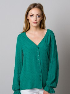 Zielona bluzka Willsoor z długim rękawem z tkaniny