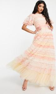 Różowa sukienka Needle & Thread z golfem z krótkim rękawem