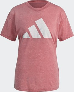 Różowy t-shirt Adidas w sportowym stylu