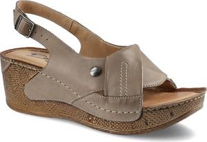 Brązowe sandały Pollonus z klamrami ze skóry