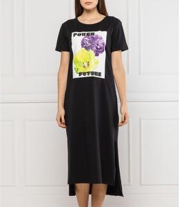 Sukienka Liu-Jo z okrągłym dekoltem z krótkim rękawem prosta