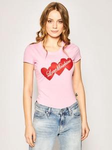 T-shirt Love Moschino z krótkim rękawem z okrągłym dekoltem