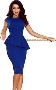 Niebieska sukienka Moda Dla Ciebie midi z okrągłym dekoltem baskinka