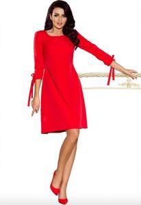 Czerwona sukienka NUMOCO trapezowa z długim rękawem