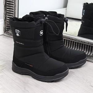Czarne buty dziecięce zimowe American Club sznurowane