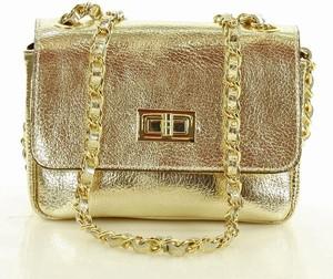 Złota torebka MAZZINI w stylu casual mała ze skóry