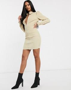 Sukienka Missguided mini z długim rękawem ze sztruksu