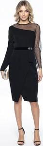 Sukienka L'af Glam midi z okrągłym dekoltem z długim rękawem