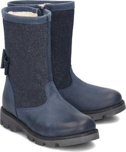 231521c64ba0e Niebieskie buty dziecięce zimowe EMEL z nubuku na zamek