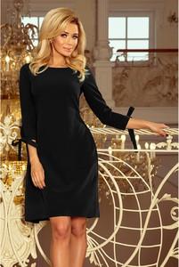 Czarna sukienka NUMOCO z długim rękawem z okrągłym dekoltem