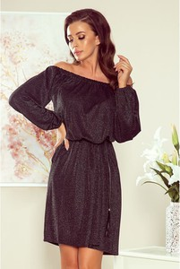 Sukienka NUMOCO z długim rękawem mini z odkrytymi ramionami